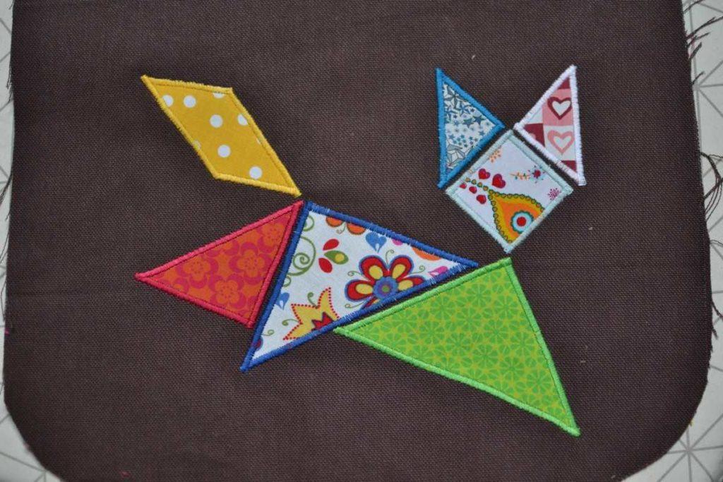 chat qui saute tangram tissus multicolores