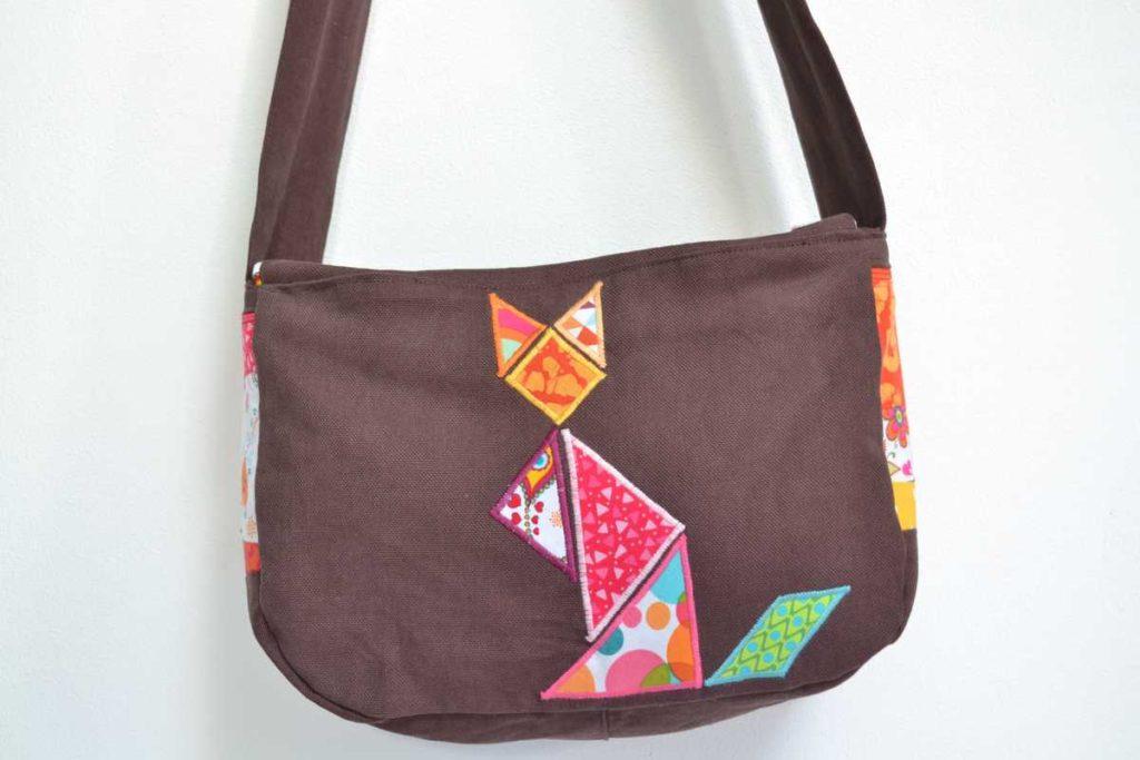 arrière sac à main chat tangram