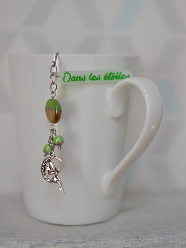 boule à thé fantaisie fée dans les étoiles perles vertes