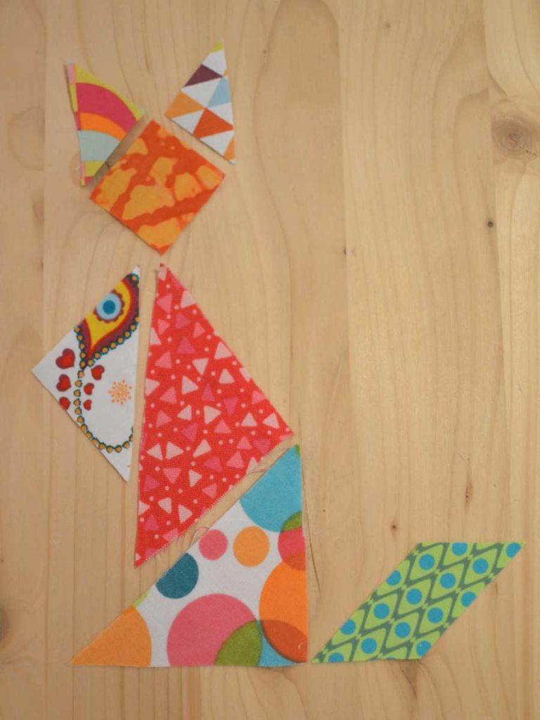 chat tangram en tissu debout