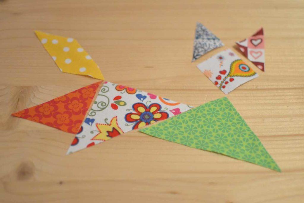chat tangram en tissu qui saute pour sac à main chat