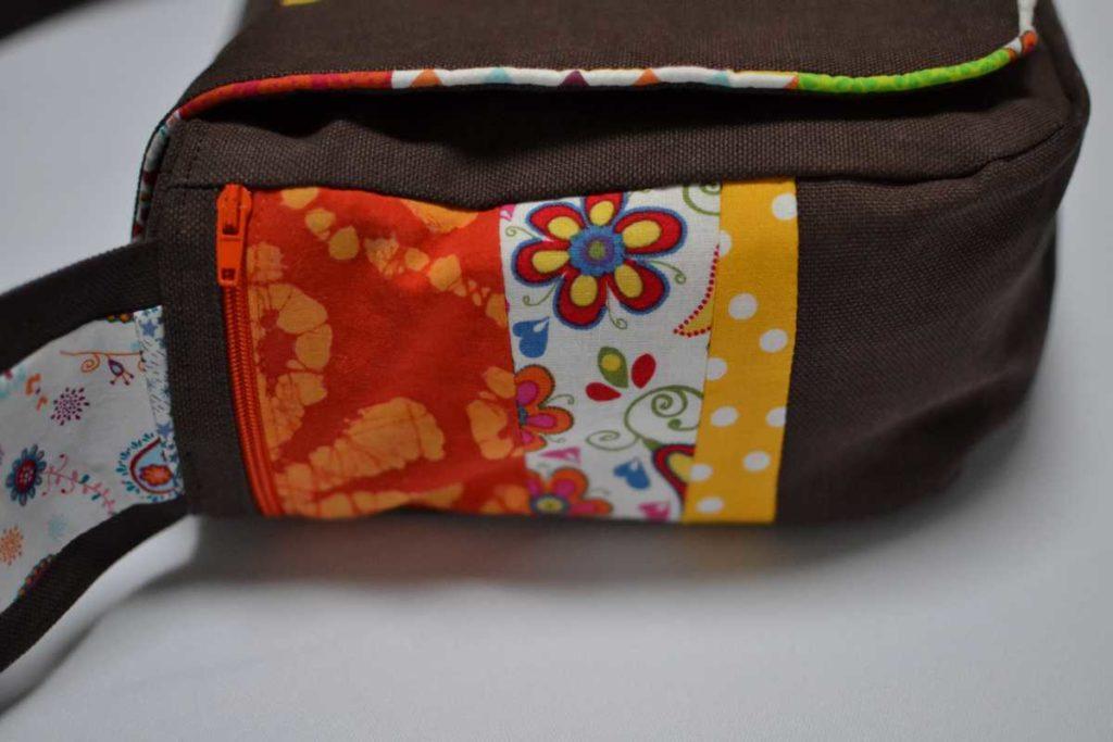 poche ppatchwork orange côté sac