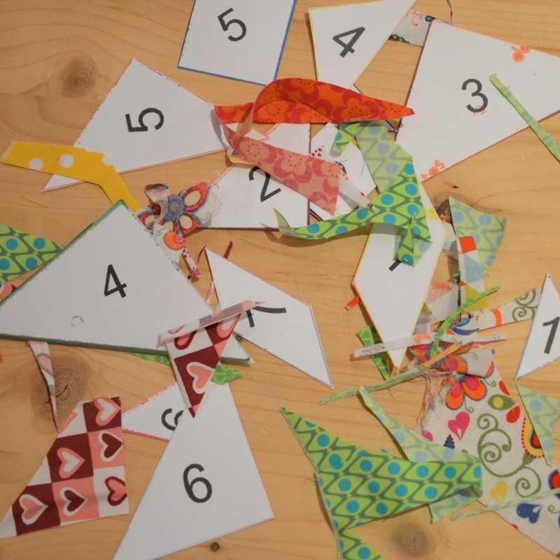 pièces de tangram et chutes de tissu