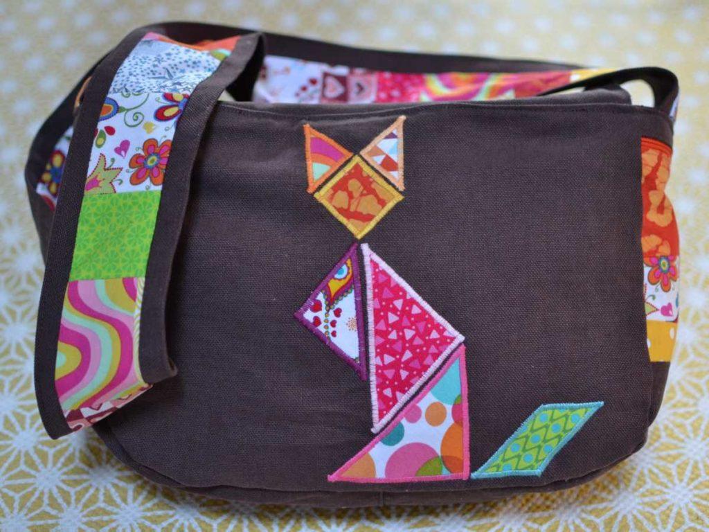 dos sac à main chat tangram