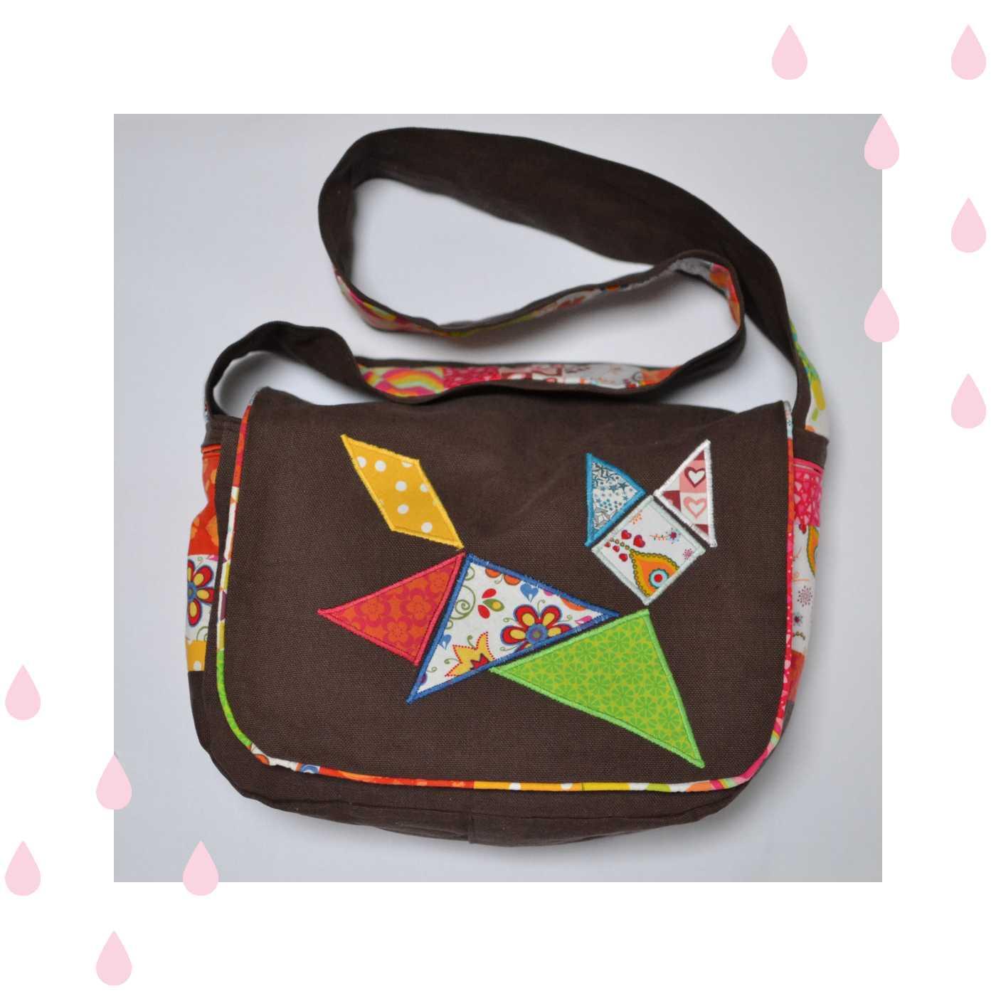 sac à main marron personnalisation chat tangram multicolore