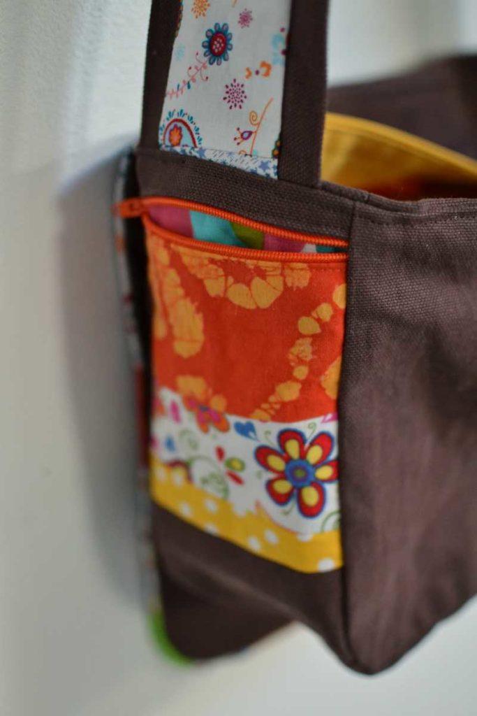 poche patchwork zippée orange