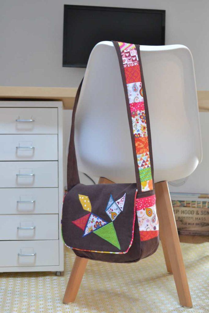 sac à main chat tangram marron et multicolore