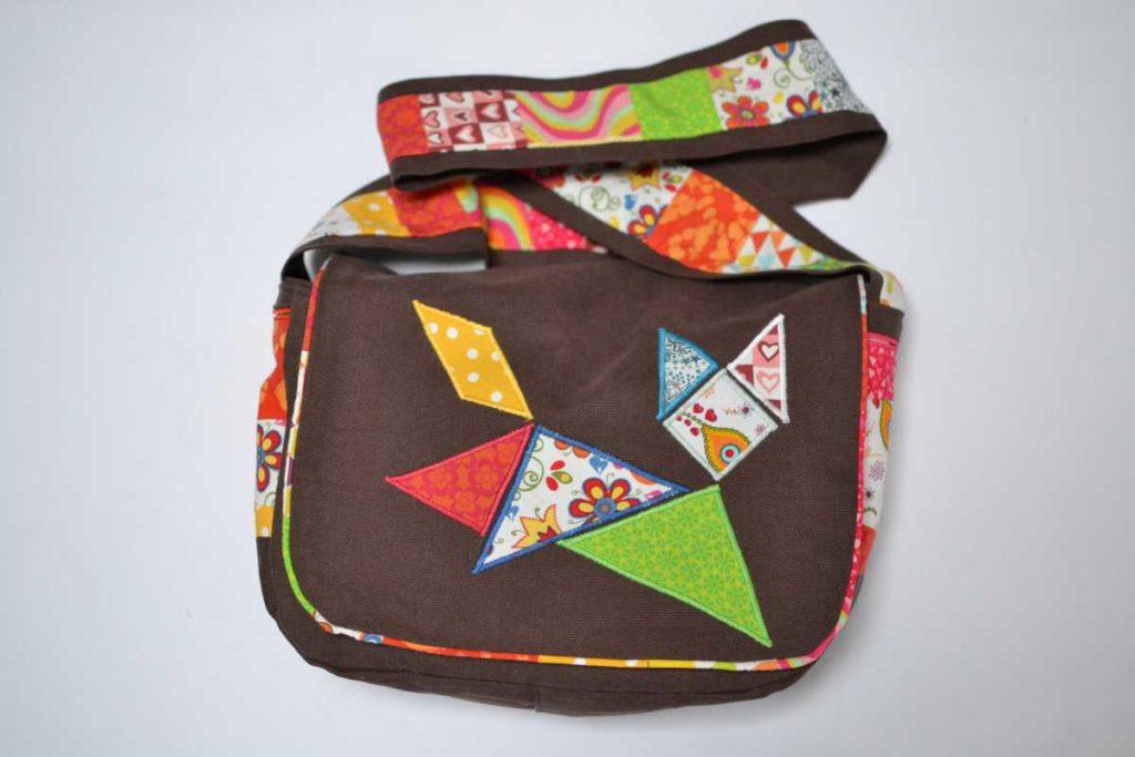 sac marron et multicolore chat tangram