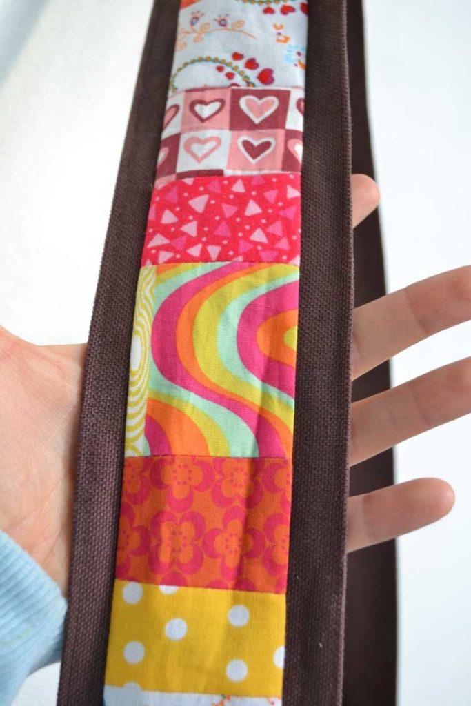 bandoulière de sac à main marron et patchwork multicolore