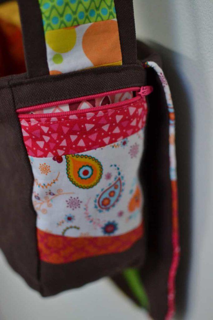 poche patchwork zip rose