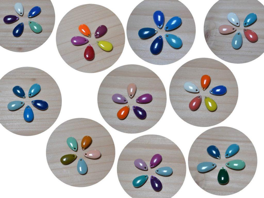 exemples associations couleurs gouttes pour broches nuages multicolores