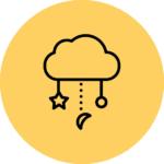 pictogramme univers enfant sur fond jaune
