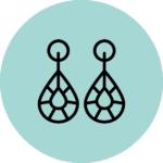 pictogramme bijoux sur fond bleu