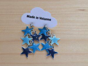 boucles d'oreilles étoiles émaillées camaïeu de bleus