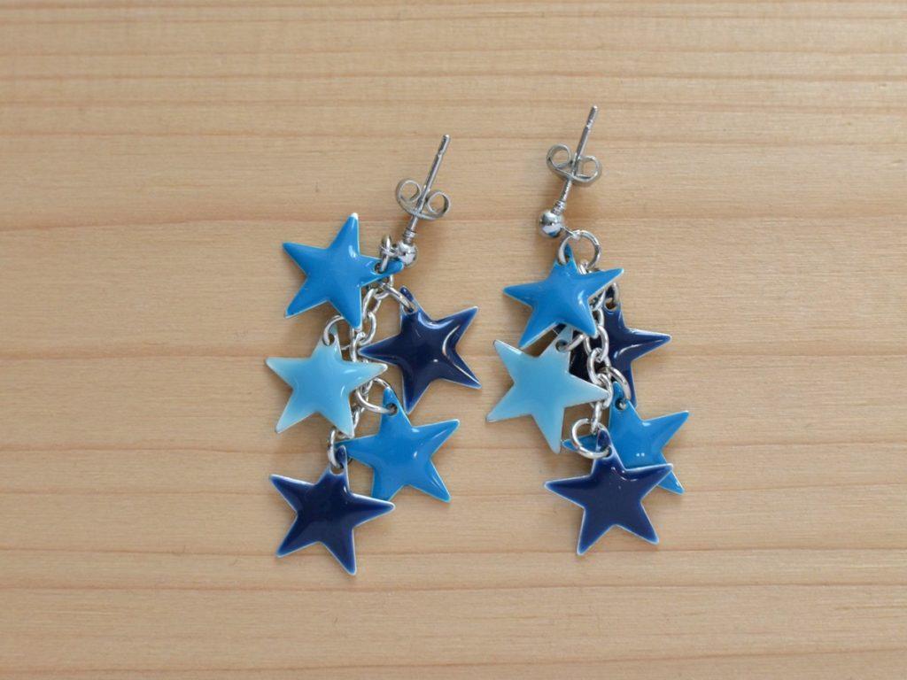 boucles d'oreilles étoiles bleues