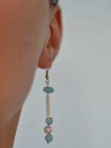 boucles d'oreilles pendantes quartz et perles argentées portées