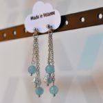 Boucles d'oreilles pendantes argentées et quartz à facettes