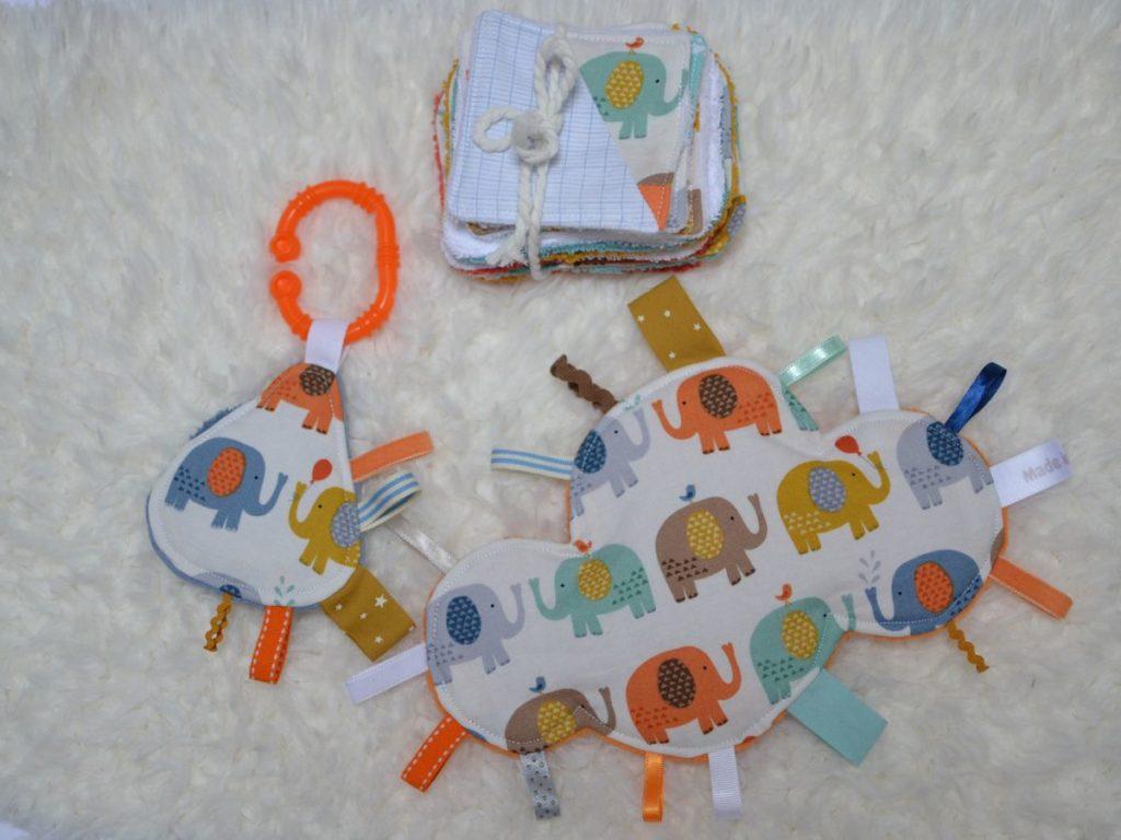 kit de naissance éléphants multicolores