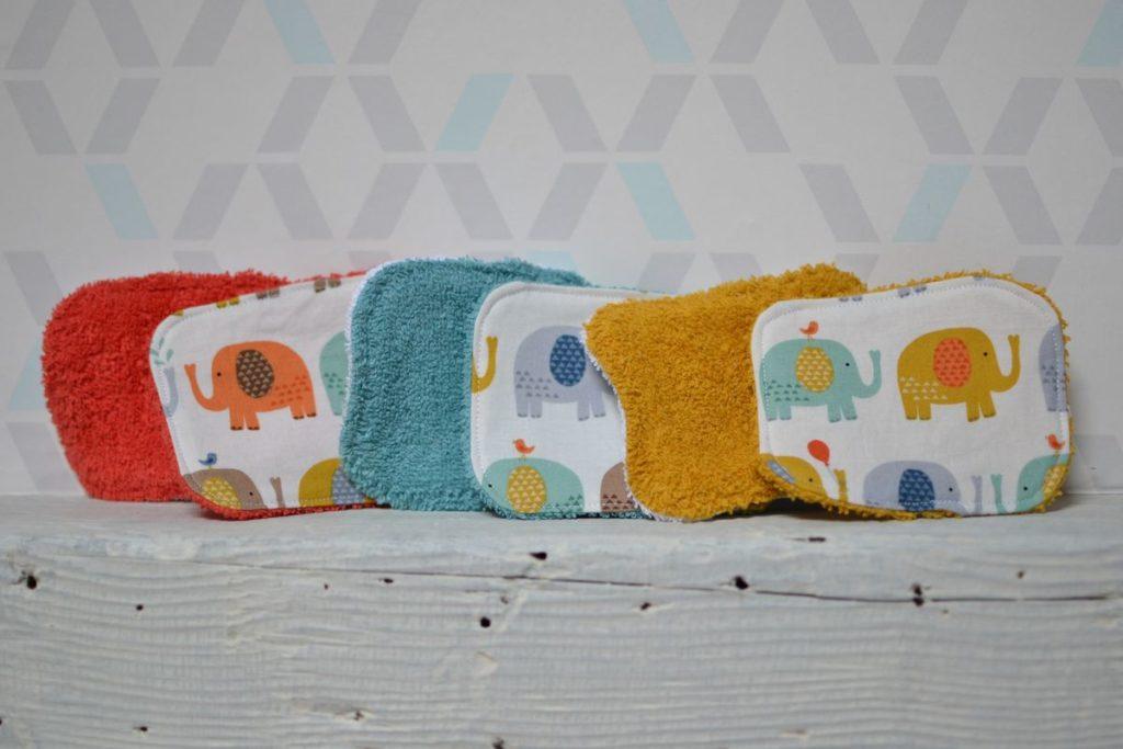 lingettes bébé éléphants multicolores