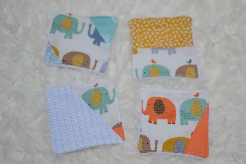 lingettes carrées patchwork pour le visage bébé
