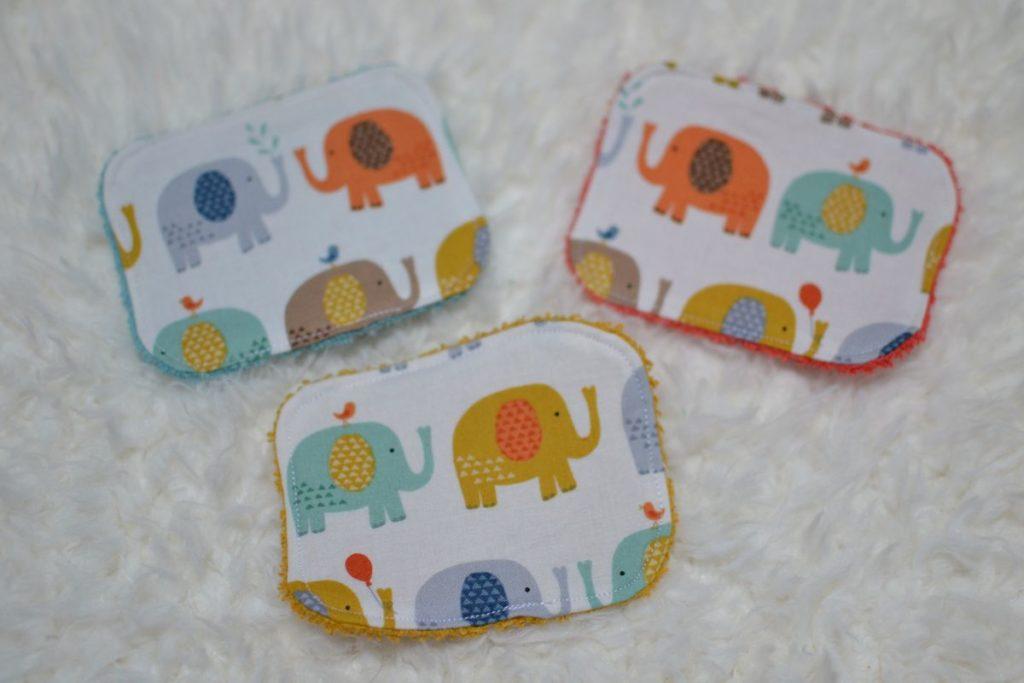 grandes lingettes éléphants multicolores