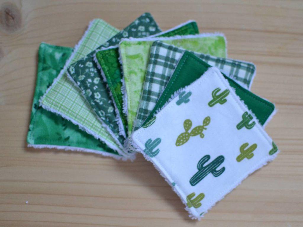 lingettes lavables camaïeu de verts et tissu cactus