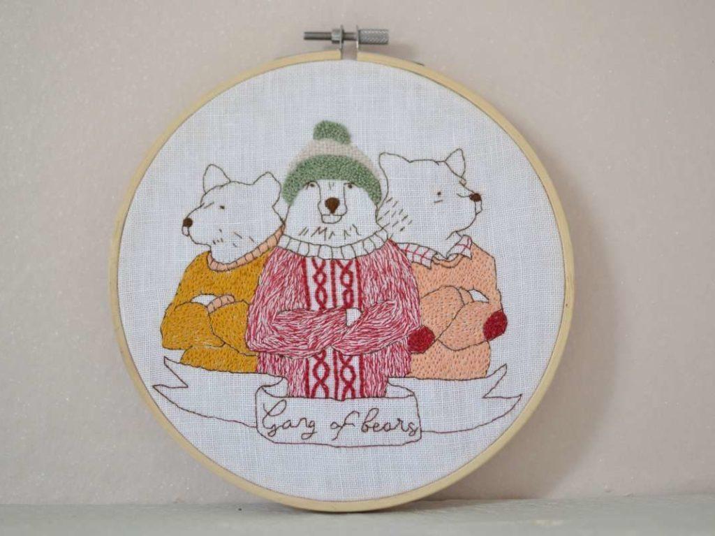 broderie encadrée modèle gang of bears