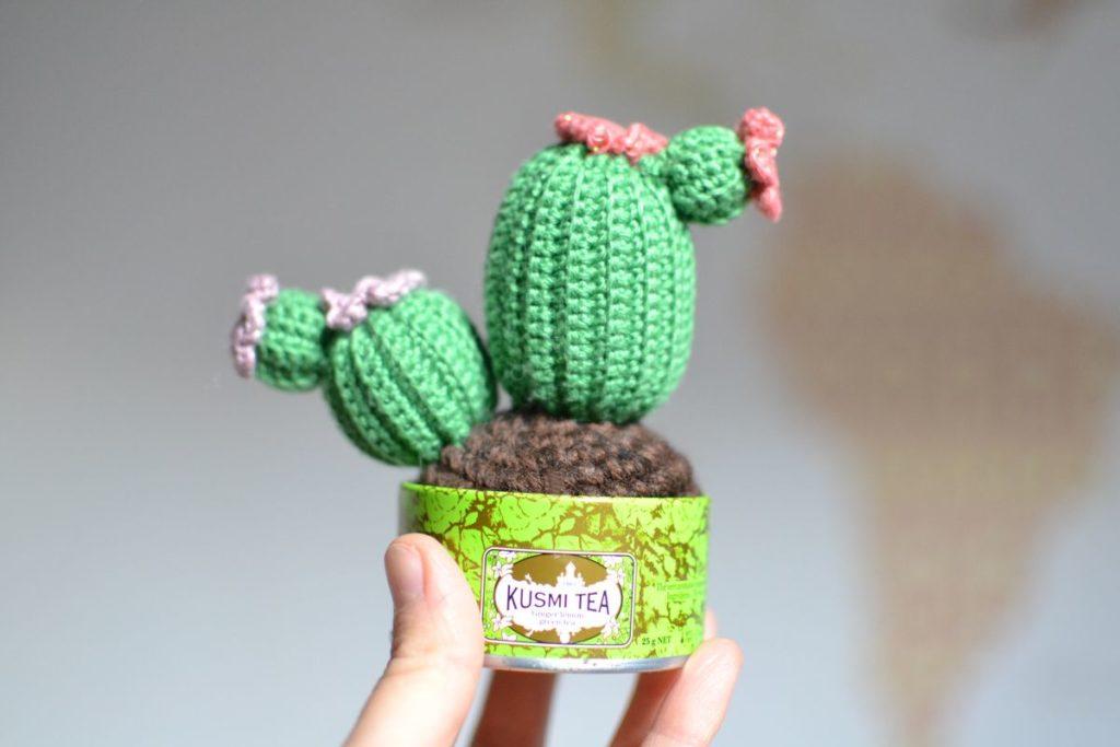 cactus au crochet et fleurs colorées pailletées