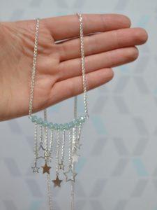 sautoir étoiles filantes en argent 925 et cristal Swarovski turquoise