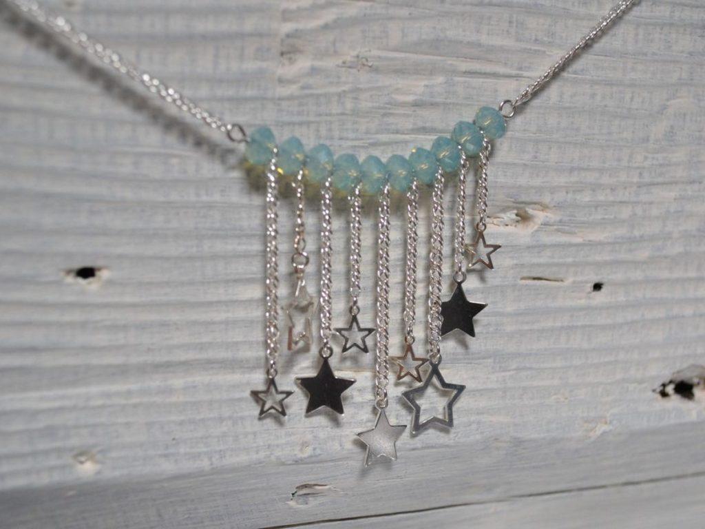 sautoir en argent 925, perles turquoises et breloques étoiles ajourées