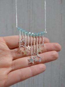 plastron sautoir étoiles filantes en argent 925 et perles turquoises