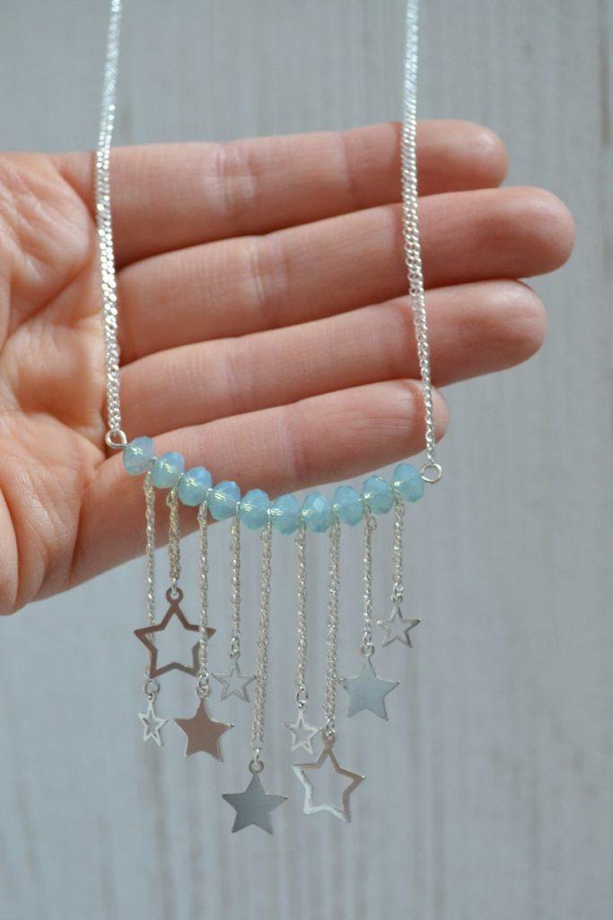 sautoir étoiles filantes en argent 925 et perles à facettes turquoise