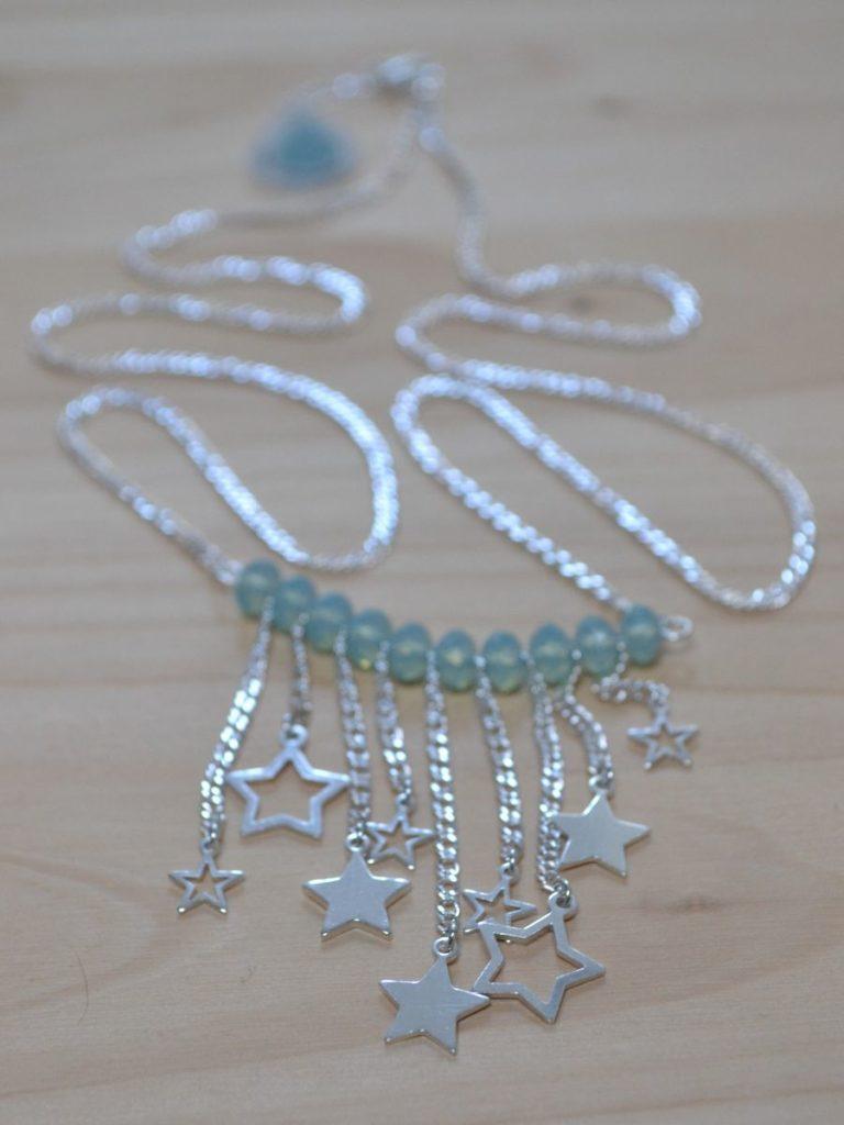 sautoir étoiles filantes en argent 925 et perles swarovski