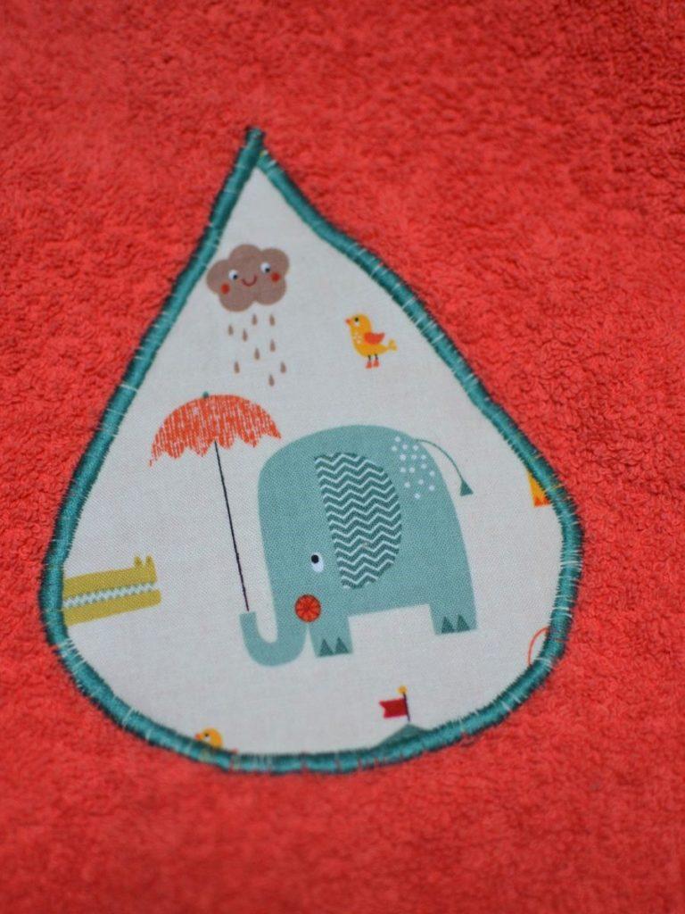 appliqué goutte éléphant et parapluie