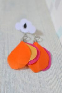 boucles d'oreilles plumes tricolores