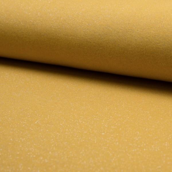 molleton jaune moutarde à paillettes argentées