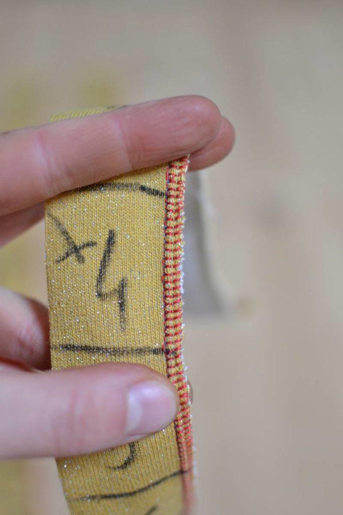 test surjet endroit bande de tissu