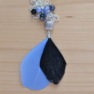 sautoir plumes bleu et noir