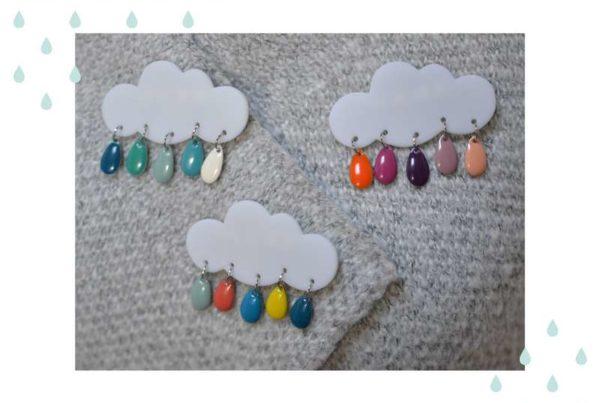 Broche nuage et gouttes