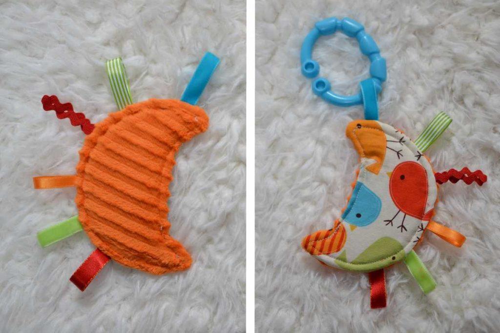 mini doudou étiquettes lune oiseaux orange