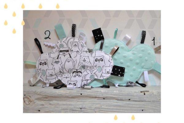Doudous étiquettes nuages animaux mignons