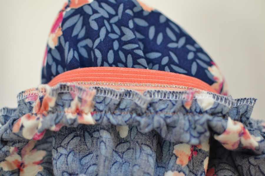 détails fronce intérieur jupe longue élastiquée
