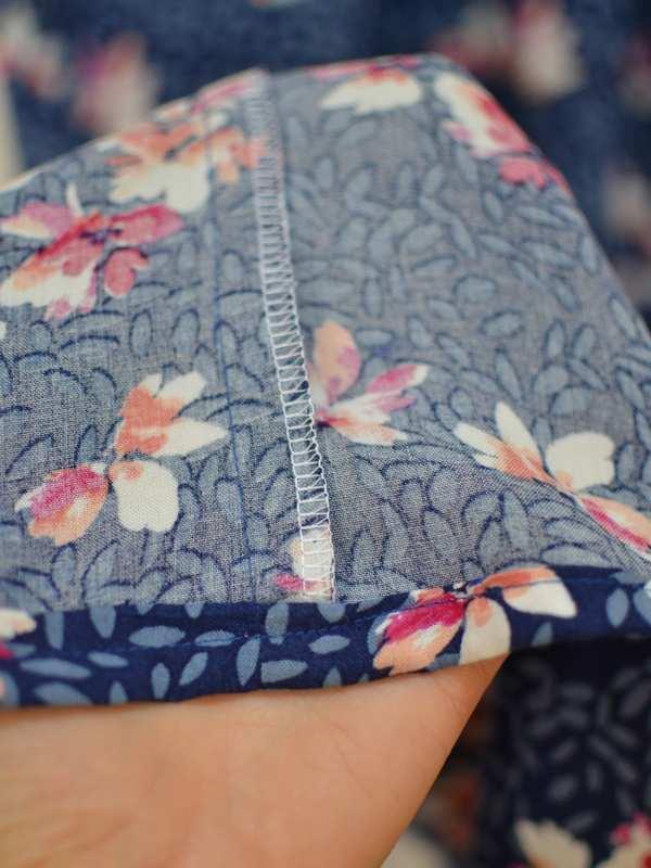 zoom finitions intérieur jupe longue