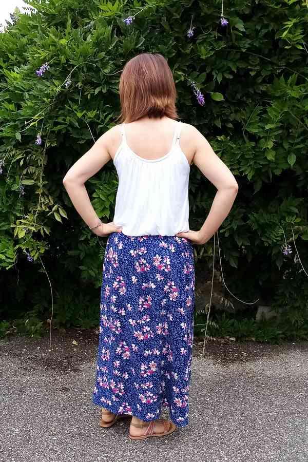 jupe longue portée vue de dos