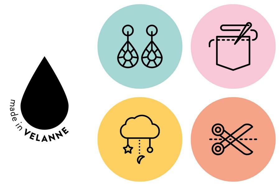 made in velanne et ses 4 univers créatifs : bijoux fantaisie, couture & broderie, univers enfant, déco & DIY