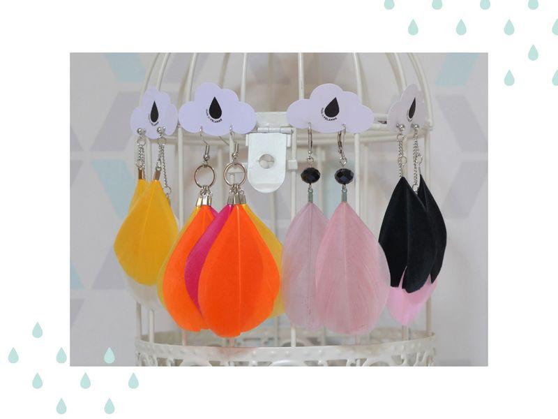 boucles d'oreilles plumes multicolores