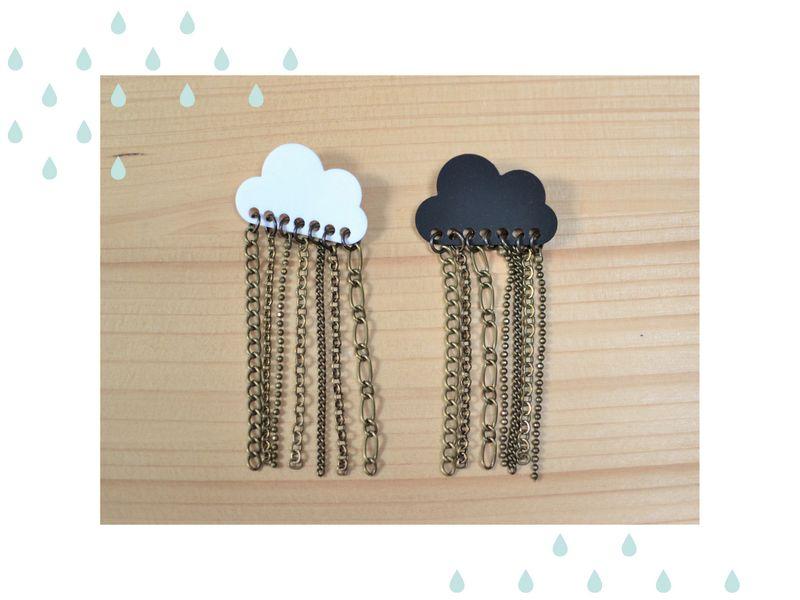 broche nuage pluie de chaînettes