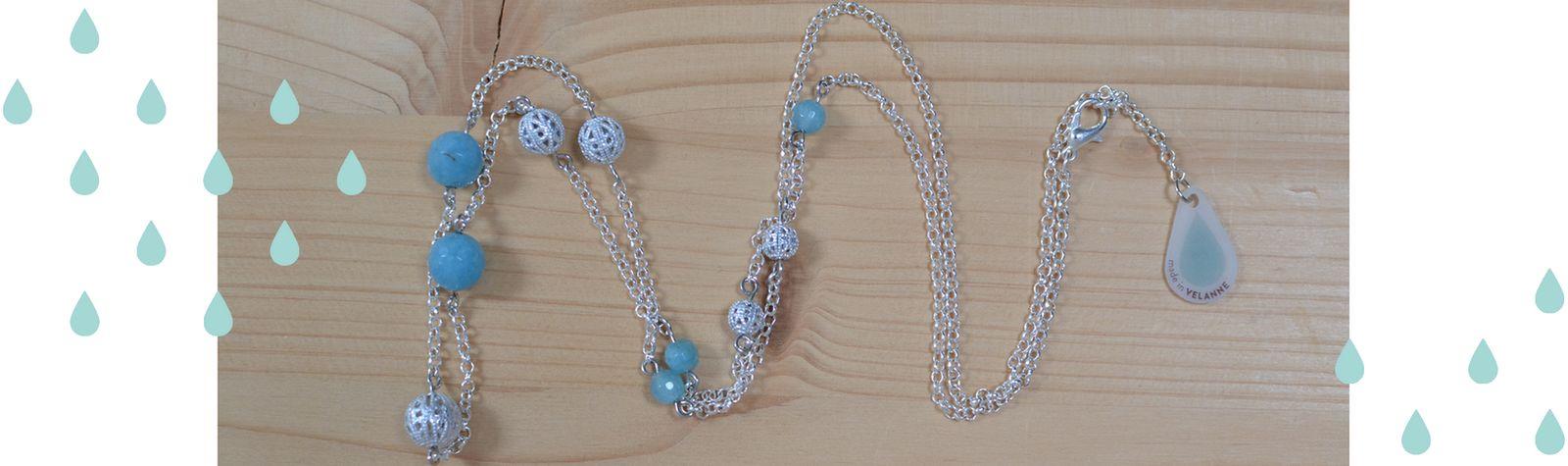 Sautoir argenté et perles en quartz bleu #BDJ143