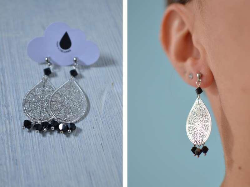 boucles d'oreille gouttes argentées et perles noires portées