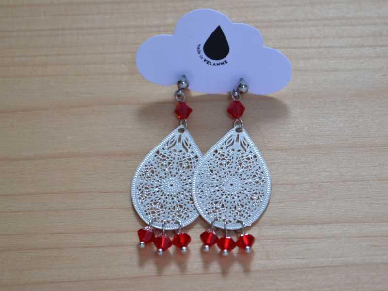 boucles d'oreille gouttes argentées et perles rouges